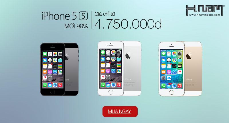 iPhone 5S mới 99%, giá chỉ từ 4.750.000Đ – Số lượng có